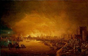 Painting of the Fire of London, September 1666. BHC0291