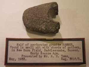 Saddlescombe half of perforated early bronze age granite hammer found at Saddlescombe Farm