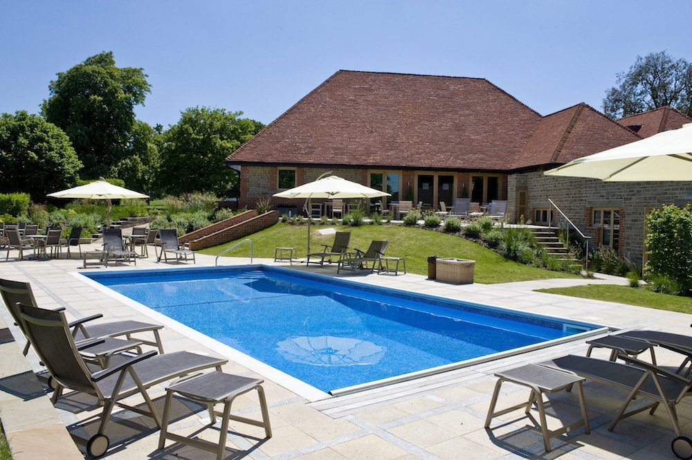 Pool and sun terrace, Park House Hotel, West Sussex, West Sussex spas, Sussex spas, Best Sussex spas, Midhurst hotels